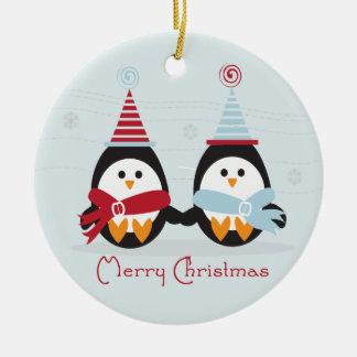 クリスマスのペンギンのオーナメント セラミックオーナメント