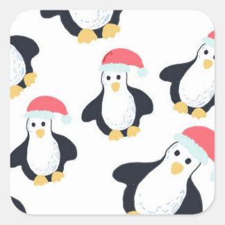 クリスマスのペンギンのステッカー スクエアシール