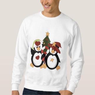 クリスマスのペンギンの休日メンズTシャツ スウェットシャツ
