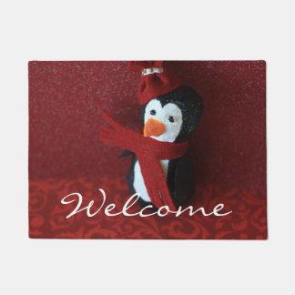 クリスマスのペンギンの装飾的なドア・マット ドアマット