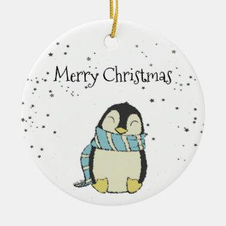 クリスマスのペンギン セラミックオーナメント