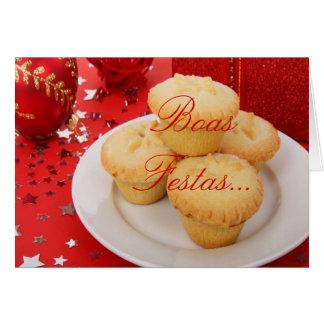 クリスマスのボアのFestas eのum feliz Ano Novo II グリーティングカード