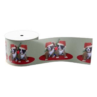 """クリスマスのボクサーの子犬3""""グログランリボン グログランリボン"""