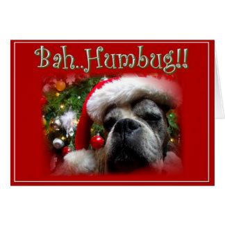 クリスマスのボクサー犬の挨拶状 グリーティングカード