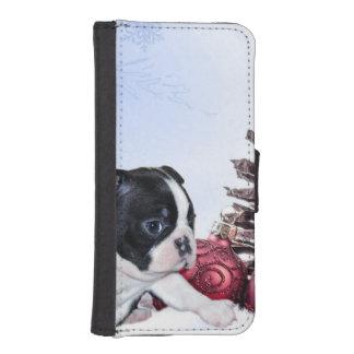 クリスマスのボストンテリアの子犬 iPhoneSE/5/5sウォレットケース