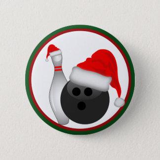 クリスマスのボーリング・ボールおよびPin 5.7cm 丸型バッジ