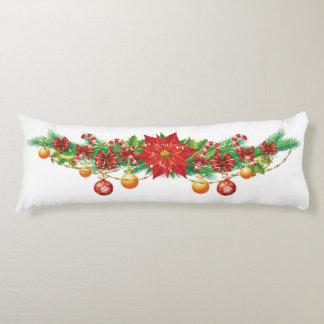 クリスマスのポインセチアの花輪の体の枕 ボディピロー