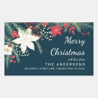 クリスマスのポインセチア及びマツ枝差出人住所 長方形シール