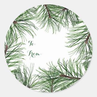 クリスマスのマツ円形のステッカー ラウンドシール
