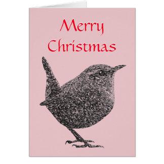 クリスマスのミソサザイの挨拶状(赤い原稿) カード