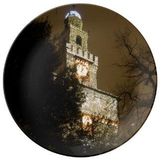 クリスマスのミラノの城 磁器プレート