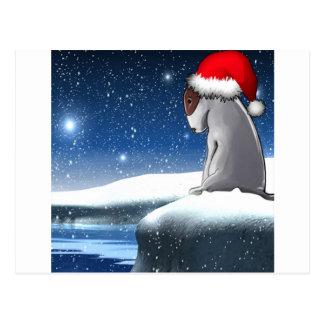 クリスマスのミーロ(ブルテリアの子犬) ポストカード