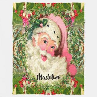 クリスマスのモノグラムのためのヴィンテージピンクの   サンタ フリースブランケット
