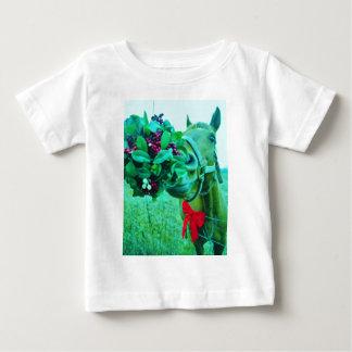 クリスマスのヤドリギのティール(緑がかった色)の馬 ベビーTシャツ