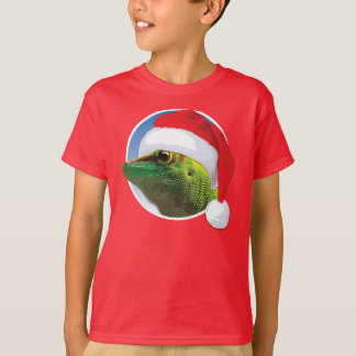 クリスマスのヤモリ-子供の基本的なHanesのTシャツ Tシャツ