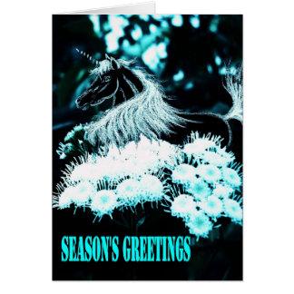 クリスマスのユニコーン カード