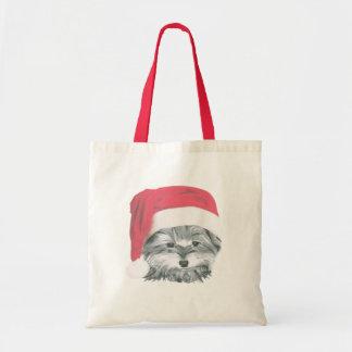 クリスマスのヨークシャーテリア犬のトートバック トートバッグ