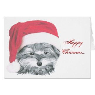 クリスマスのヨークシャーテリア犬 カード