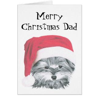 クリスマスのヨークシャーテリア犬、メリークリスマスのパパカード カード