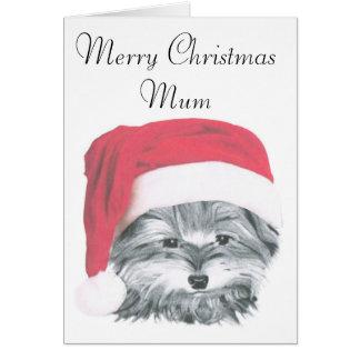 クリスマスのヨークシャーテリア犬、メリークリスマスのミイラカード カード