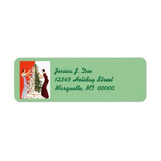 クリスマスのラベルを飾るアール・デコの木のトリミング ラベル