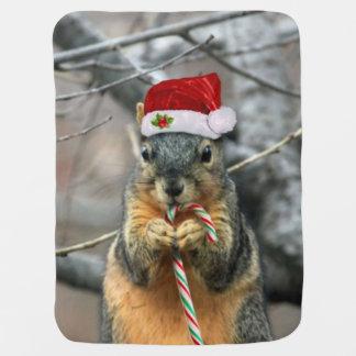 クリスマスのリス ベビー ブランケット