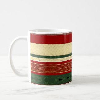 クリスマスのリボンのコーヒー・マグ|の緑の赤い金ゴールドのクリーム コーヒーマグカップ