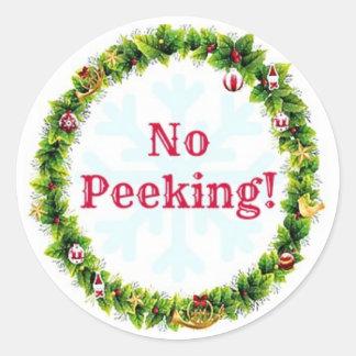 クリスマスのリースかいま見ること ラウンドシール