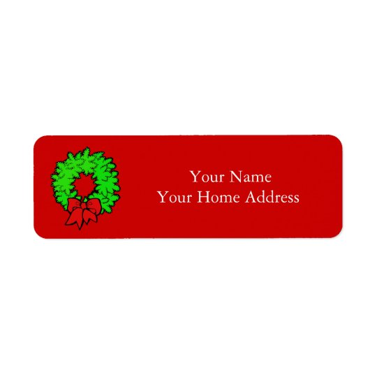 クリスマスのリースが付いているラベルの宛名ラベル ラベル