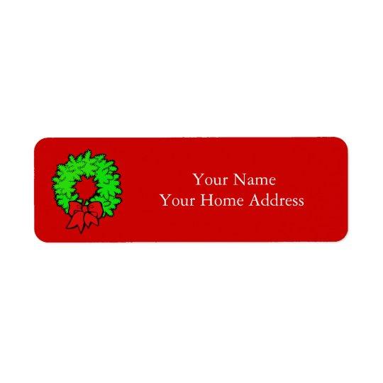 クリスマスのリースが付いているラベルの宛名ラベル 返信用宛名ラベル