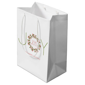 クリスマスのリースと文字デザインな喜び ミディアムペーパーバッグ