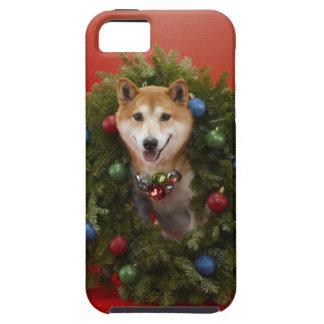 クリスマスのリースに坐っている柴犬犬 iPhone SE/5/5s ケース