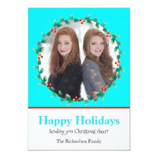 クリスマスのリースのティール(緑がかった色)および白い写真カード 12.7 X 17.8 インビテーションカード