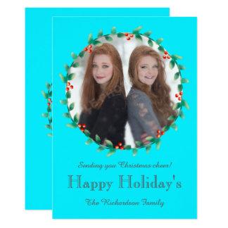 クリスマスのリースのティール(緑がかった色)の写真カード 12.7 X 17.8 インビテーションカード