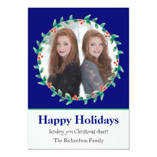 クリスマスのリースのロイヤルブルーおよび白の写真カード 12.7 X 17.8 インビテーションカード