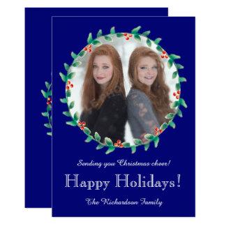 クリスマスのリースのロイヤルブルーの写真カード 12.7 X 17.8 インビテーションカード