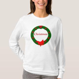 クリスマスのリースのワイシャツ Tシャツ