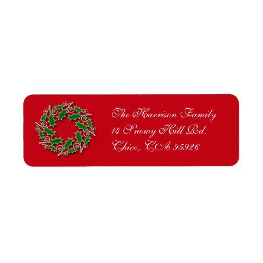 クリスマスのリースの差出人住所ラベル 返信用宛名ラベル