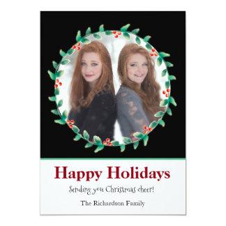 クリスマスのリースの白黒写真カード 12.7 X 17.8 インビテーションカード