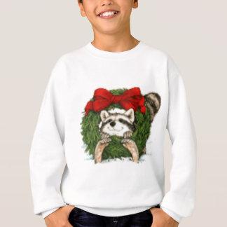 クリスマスのリースの装飾およびアライグマ スウェットシャツ