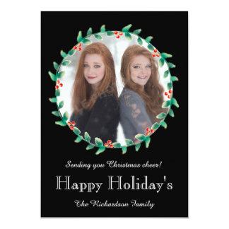 クリスマスのリースの黒の写真カード 12.7 X 17.8 インビテーションカード