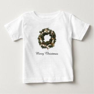 クリスマスのリースのTシャツ ベビーTシャツ
