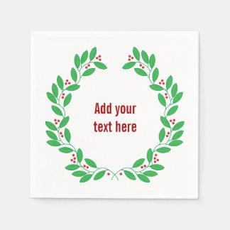 クリスマスのリースはあなた自身の文字を加えます スタンダードカクテルナプキン
