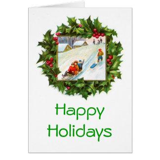 クリスマスのリースカードをSledding子供 カード