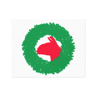 クリスマスのリース及びラマのクリスマスカードおよび多く キャンバスプリント