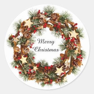 クリスマスのリース、メリークリスマスのステッカー ラウンドシール