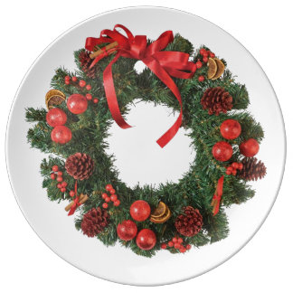 クリスマスのリース 磁器プレート