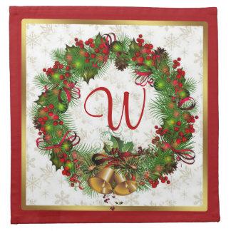 クリスマスのリース、鐘、ヒイラギのモノグラムのナプキン ナプキンクロス