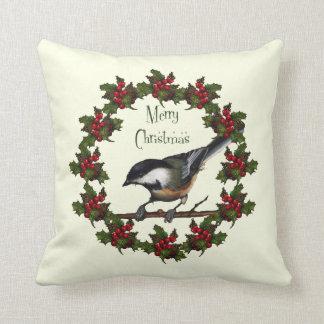 クリスマスのリース: 《鳥》アメリカゴガラ: ヒイラギ、元の芸術 クッション