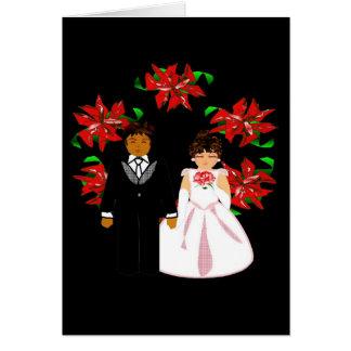 クリスマスのリースIが付いている異人種間の結婚式のカップル ノートカード